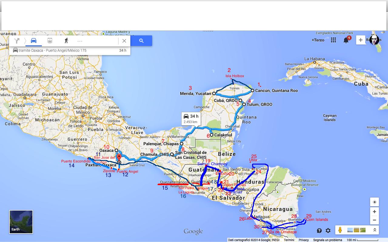 itinerario centr ame